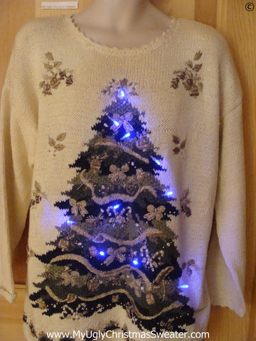 80s Tacky Christmas Sweater with Tree and Lights