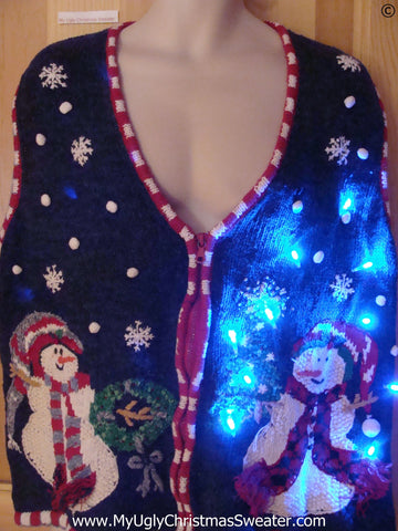 Tacky Christmas Sweater Vest with Snowmen and Lights