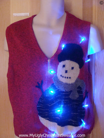 Red Christmas Sweater with Snowman and Light
