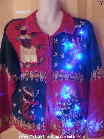 80s Tacky Christmas Sweater with Stockings, Tree, with Lights