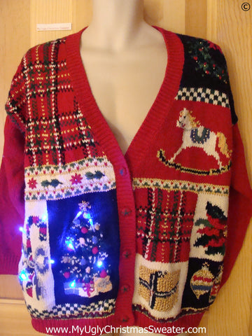 80s Red Plaid Funny Light Up Christmas Sweater