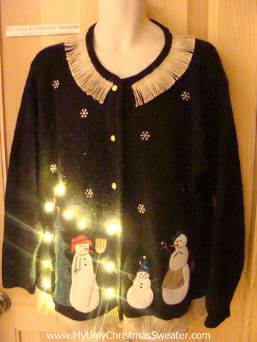 Tacky Ugly Christmas Sweater with Lights and Fringe (g35)