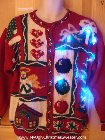 Christmas Sweater with Angel, Hearts, with Lights