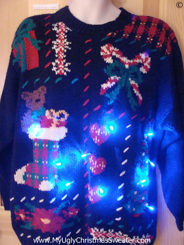 80s Funny Christmas Sweater with Lights Bear, Candycanes