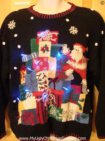 80s Tacky Christmas Sweater with Santa, Gifts, with Lights