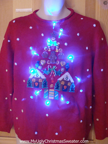 Gingerbread Tree Funny Light Up Christmas Sweater
