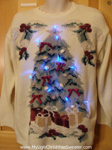 Vintage 80s Funny Light Up Christmas Sweater