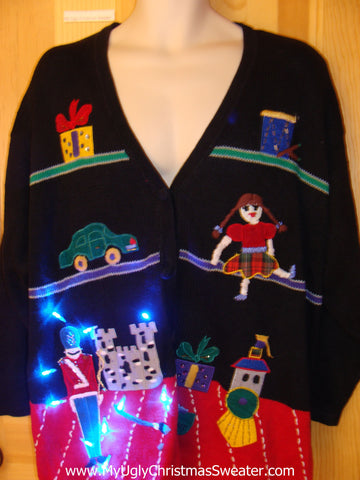 Vintage 80s Toy Theme Funny Light Up Christmas Sweater