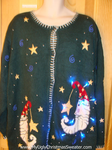 Scary Moons Funny Light Up Christmas Sweater
