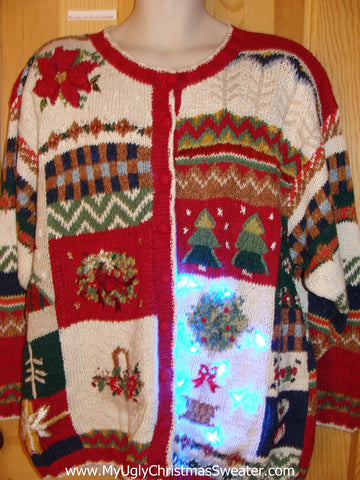 Two Sided 80s Red, Green Funny Light Up Christmas Sweater