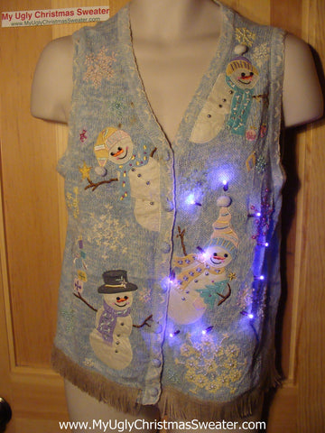 Tacky Ugly Christmas Sweater Vest with Lights and Fringe. Smiling Snowmen with Stick Arms.  (g36)