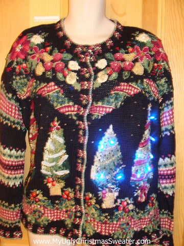 80s Funny Christmas Sweater with Lights Checkerboard