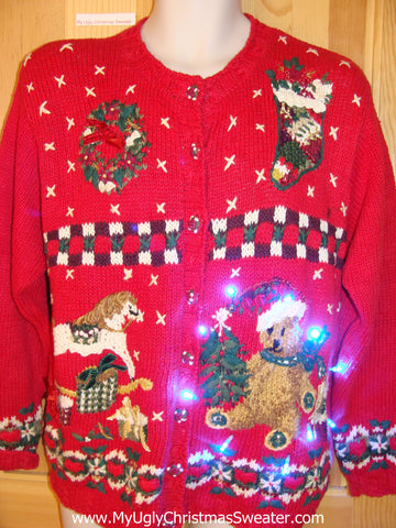 80s Red Funny Light Up Christmas Sweater with Horse and Bear