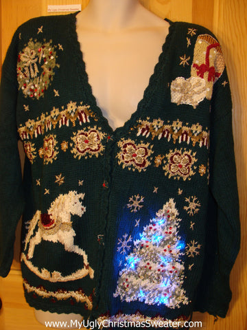 Vintage 80s Funny Light Up Christmas Sweater with Tree and Lights