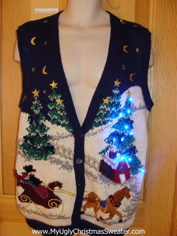 Tacky Christmas Sweater Vest with Lights Horse Winter Scene