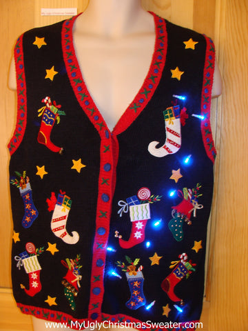 Tacky Christmas Sweater Vest with Horrible Pointy Stockings and Lights
