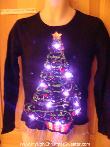 Tacky Ugly Christmas Sweater with Lights and Fringe (g37)