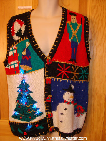 Colorful Tacky Christmas Sweater Vest with Lights