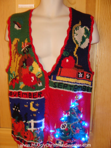 Fall Months Tacky Christmas Sweater Vest with Lights