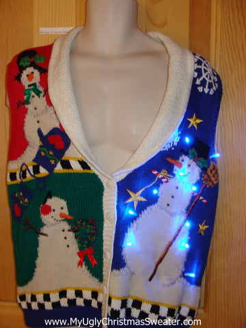 Tacky Christmas Sweater Vest with Lights Snowmen Mittens