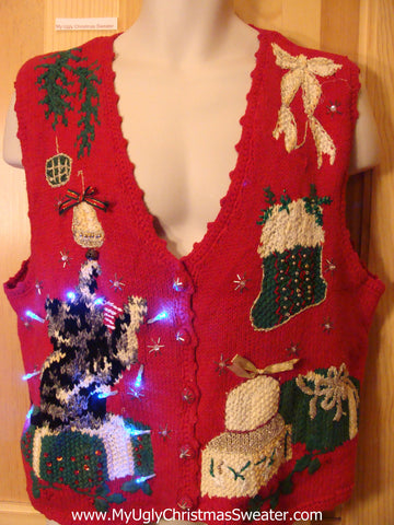 Cat Themed Tacky Christmas Sweater Vest with Lights