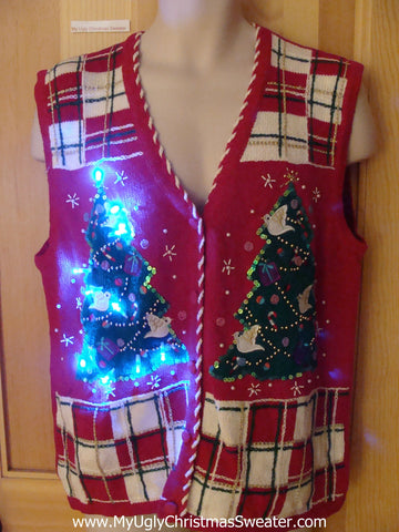 Tacky Christmas Sweater Vest with Lights Tree Bird