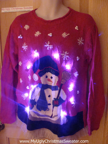 Tacky Ugly Christmas Sweater with Lights and Fringe. Giant Glowing Snowman  (g38)