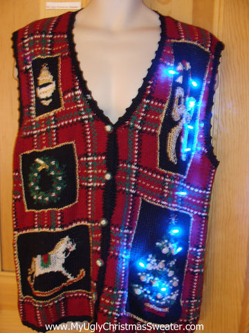 Plaid Tacky Christmas Sweater Vest with Lights