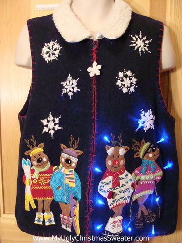 Ski Bears Tacky Christmas Sweater Vest with Lights