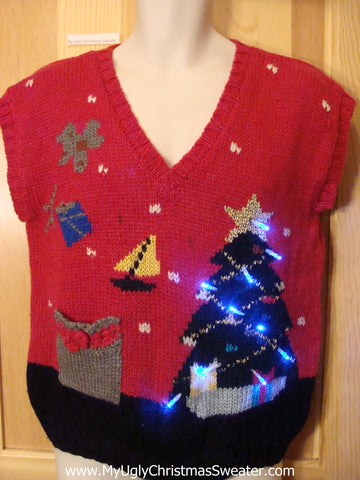 80s Vintage Tacky Christmas Sweater Vest with Lights