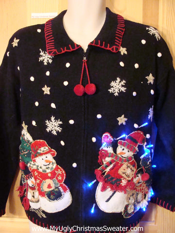 Christmas Sweater with Snowman Family and Lights