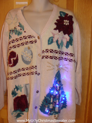 Pink 80s Funny Light Up Christmas Sweater