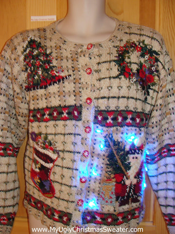 Vintage 80s Tacky Christmas Sweater Cardigan with Lights