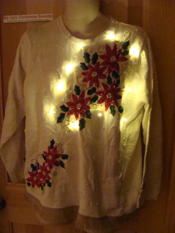 Tacky Ugly Christmas Sweater with Lights and Fringe. Bright Poinsettias. (g39)