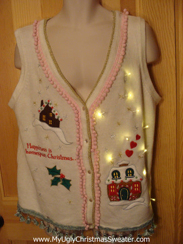 Tacky Ugly Christmas Sweater Vest with Lights and Fringe (g3)