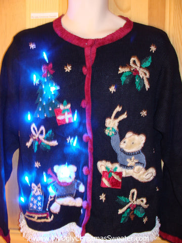 Light Up Ugly Christmas Sweater Bears Gifts Ivy