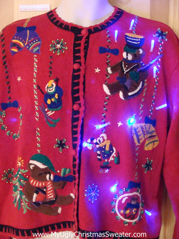 Light Up Ugly Christmas Sweater with Bears 80s
