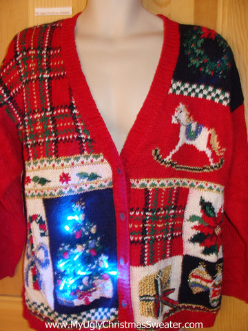 Plaid Red 80s Light Up Ugly Christmas Sweater