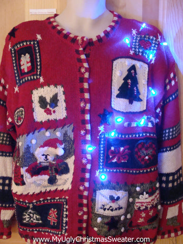 Two Sided Cardigan Light Up Ugly Christmas Sweater