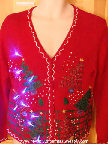 Red Two Sided Light Up Ugly Christmas Sweater