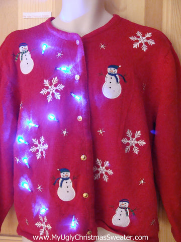 Light Up Ugly Christmas Sweater with Snowmen