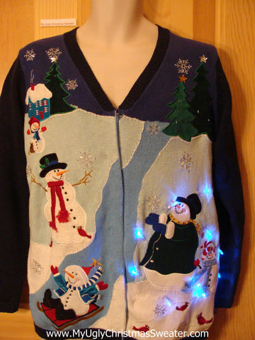 Light Up Ugly Christmas Sweater 2sided Snowmen