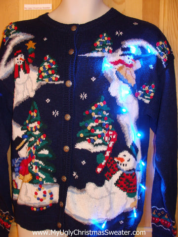 Light Up Ugly Christmas Sweater Dreamy Snowmen Scene
