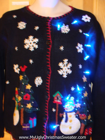 Light Up Ugly Christmas Sweater Winter Snow