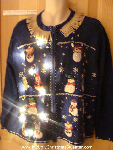 Tacky Ugly Christmas Sweater with Lights and Fringe. Snowmen at a Hat Parade. (g40)