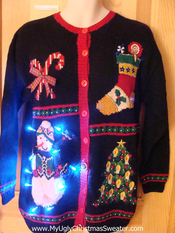 Light Up Ugly Christmas Sweater Snowman Candycane