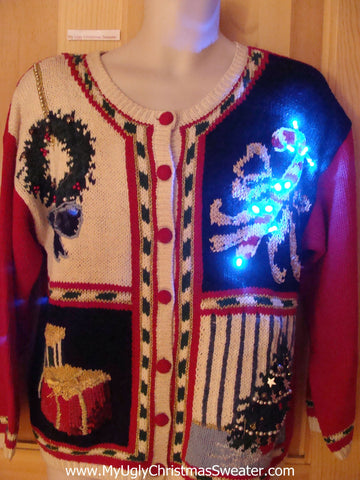 Light Up 80s Ugly Christmas Sweater with Bells