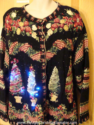 Light Up Ugly Christmas Sweater with Trees 80s