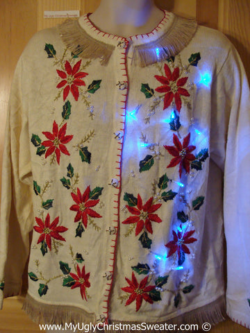 Tacky Ugly Christmas Sweater with Lights and Fringe. Poinsettia Heaven. (g41)