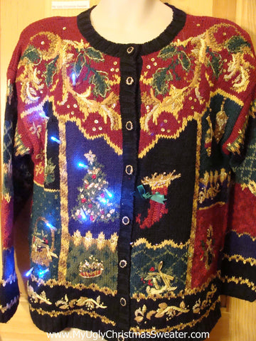 Two Sided Horrible 80s Light Up Ugly Christmas Sweater